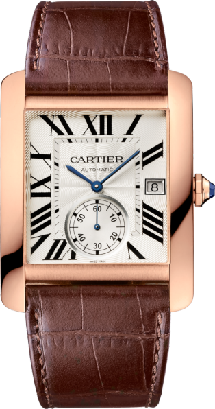 Tank MC watch Large model, automatic movement, pink gold, leather