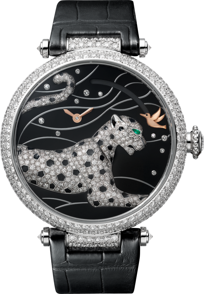 Panthère Jewelry WatchesLarge model, rhodiumized 18K white gold, leather, diamonds