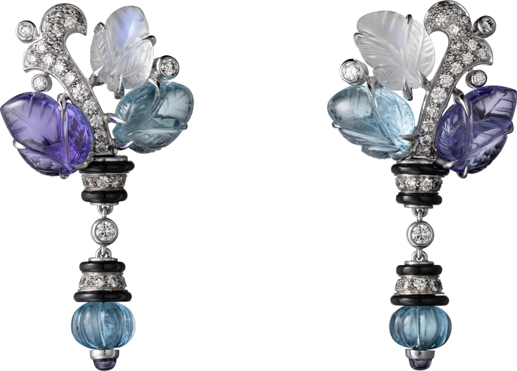 Pierres gravees earringsWhite gold, aquamarines, tanzanites, moonstones, onyx, diamonds