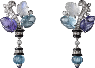 Pierres gravees earrings White gold, aquamarines, tanzanites, moonstones, onyx, diamonds