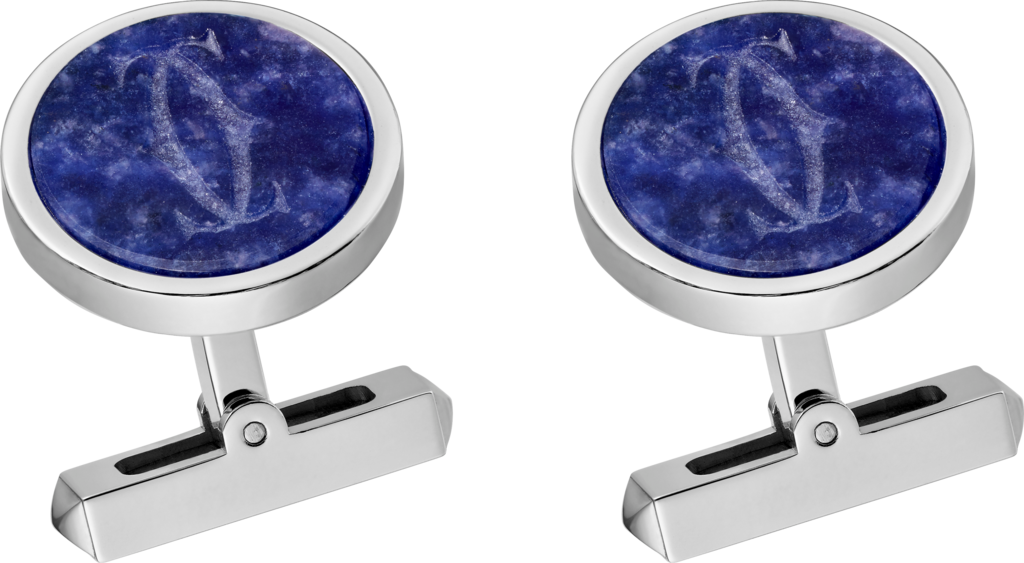 Engraved sodalite Double C logo cufflinksSterling silver, palladium finish, sodalite