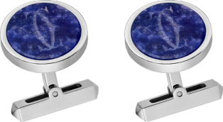 Engraved sodalite Double C logo cufflinks Sterling silver, palladium finish, sodalite