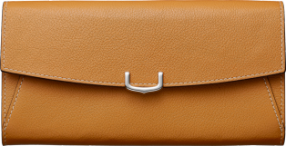 Small Leather Goods C de Cartier, international wallet Imperial topaz-colored taurillon leather, palladium finish