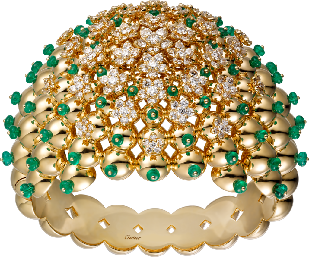 Cactus de Cartier braceletYellow gold, emeralds, diamonds