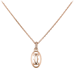 Logo necklace Pink gold, diamonds