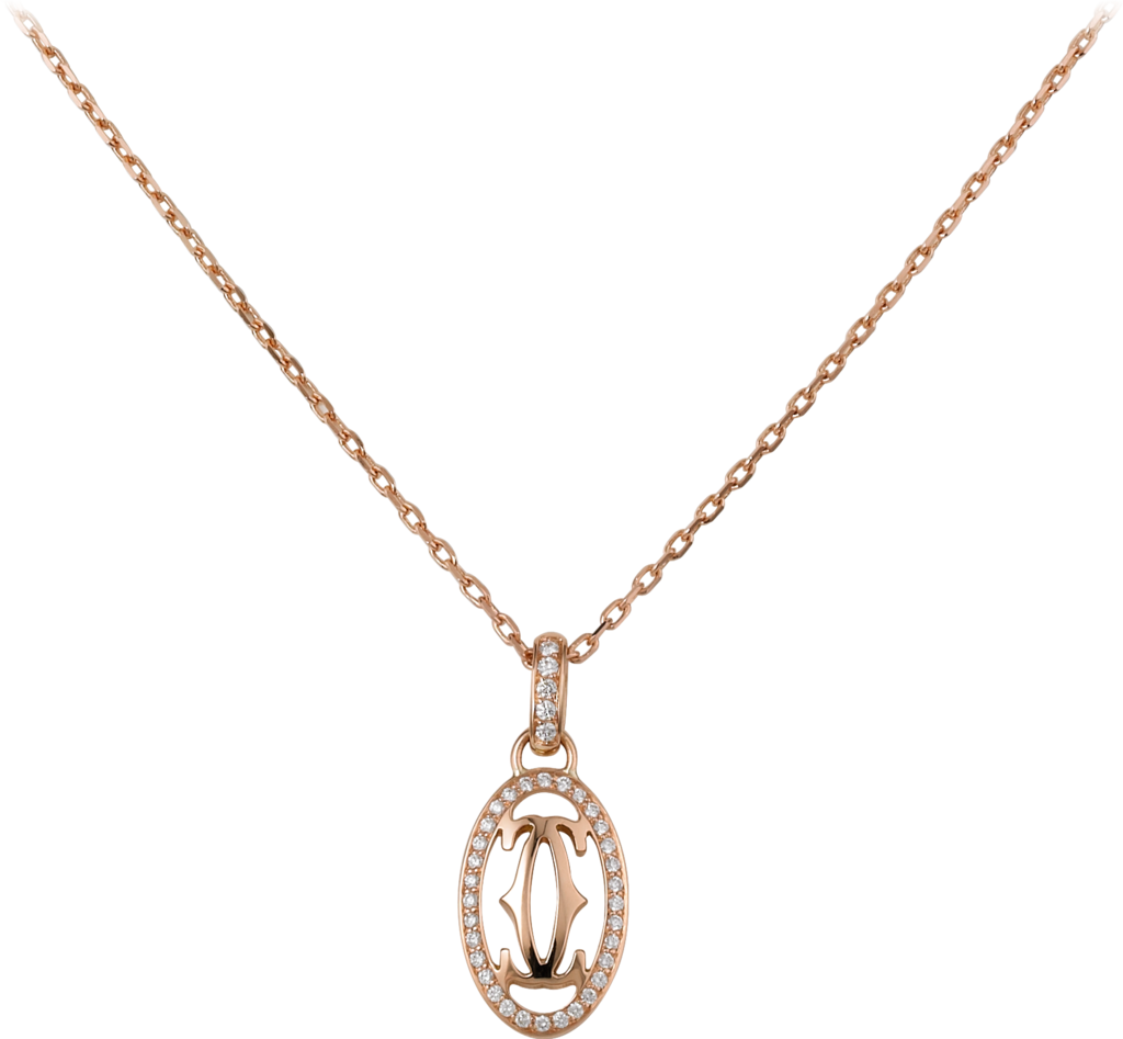 Logo necklacePink gold, diamonds