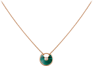 Amulette de Cartier necklace, XS model Pink gold, malachite, diamond