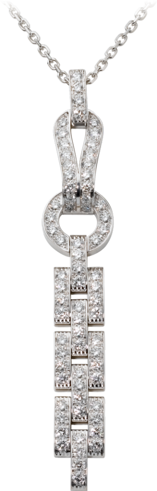 Agrafe necklace White gold, diamonds