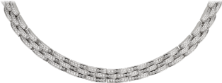 Maillon Panthère thin necklace, 3 diamond-paved rows White gold, diamonds