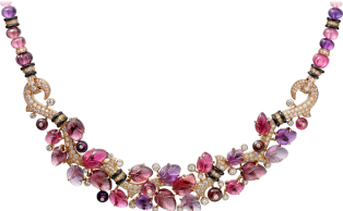 Pierres gravees necklace Pink gold, rubellites, amethysts, garnets, onyx, diamonds
