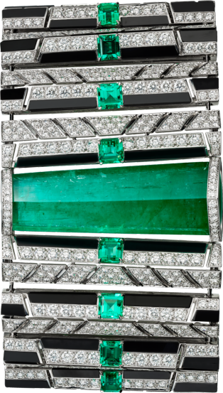 High Jewelry bracelet White gold, emeralds, onyx, diamonds
