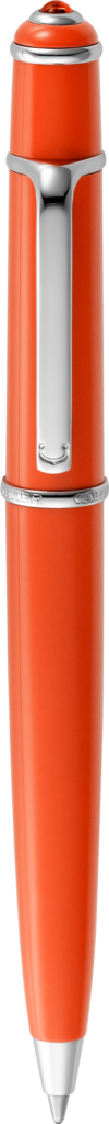 C de Cartier-colored Diabolo de Cartier pen Coral-colored lacquer, polished palladium-finish details, coral resin cabochon