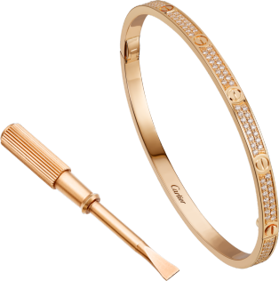 Love bracelet, small model, pavé Pink gold, diamonds