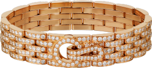 Agrafe bracelet Pink gold, diamonds