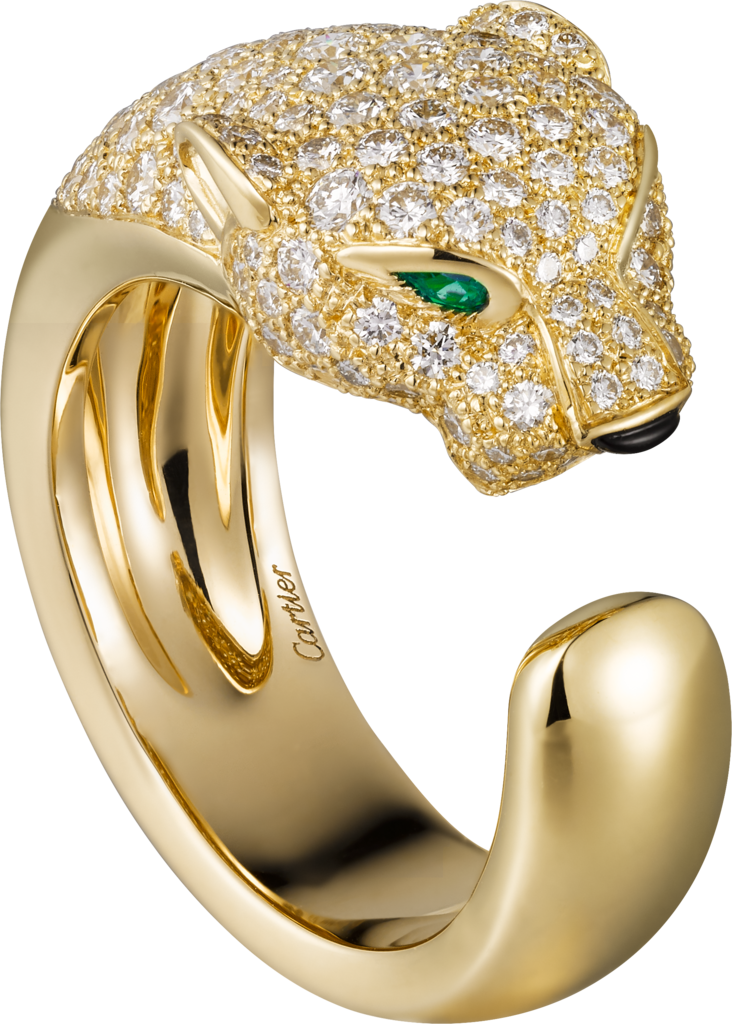 Panthère de Cartier ringYellow gold, diamonds, emeralds, onyx