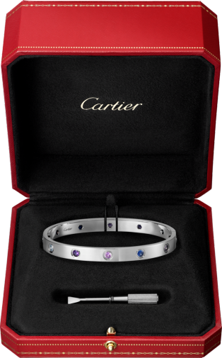 Love bracelet White gold, aquamarines, sapphires, spinels, amethysts