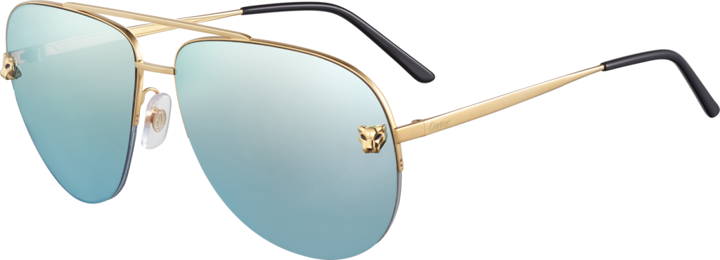 Panthère de Cartier sunglassesMetal, smooth golden finish, blue lagoon mirror lenses