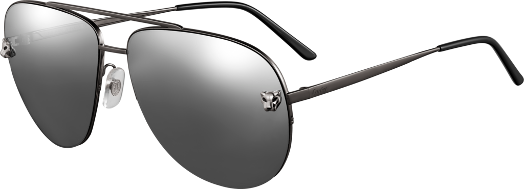Panthère de Cartier sunglassesMetal, black PVD and ruthenium finish, silver-colored gray mirror lenses