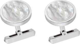 Engraved white mother-of-pearl double C logo cufflinks Sterling silver, palladium finish, white mother-of-pearl