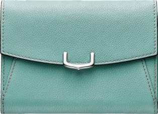 C de Cartier Small Leather Goods, compact wallet Green beryl taurillon leather, palladium finish