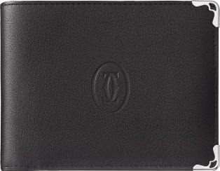 8-Credit Card Wallet, Must de Cartier Black calfskin, stainless steel finish