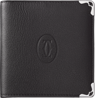 Must de Cartier Small Leather Goods, 6-credit card compact wallet Black calfskin, stainless steel finish