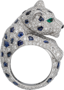 Panthère de Cartier ring Platinum, sapphires, emeralds, diamonds
