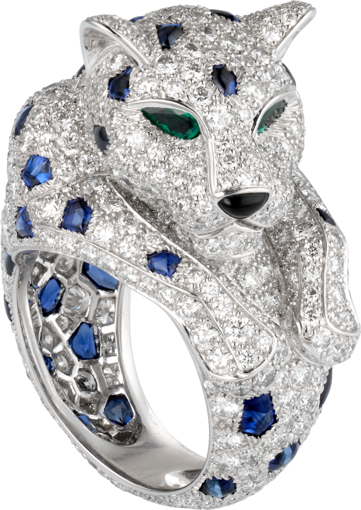 Panthère de Cartier ringPlatinum, sapphires, emeralds, diamonds
