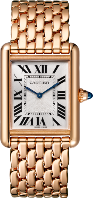 Tank Louis Cartier watch Large model, hand-wound mechanical movement, pink gold