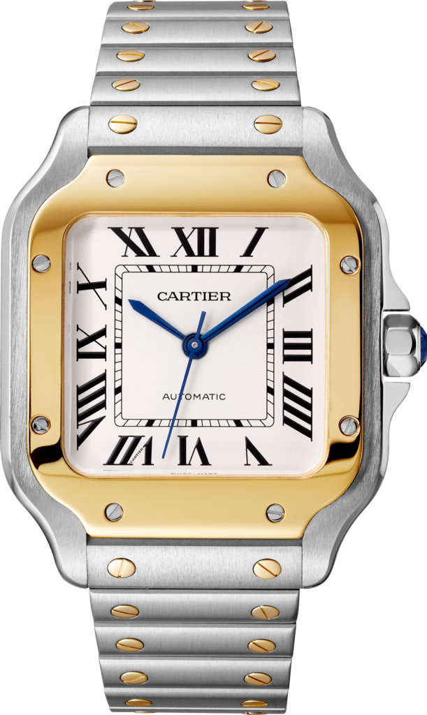 Santos de Cartier watchMedium model, automatic, yellow gold and steel, interchangeable metal and leather bracelets