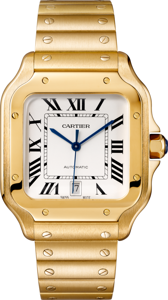 Santos de Cartier watchLarge model, automatic movement, yellow gold, interchangeable metal and leather bracelets