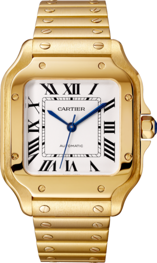 Santos de Cartier watch Medium model, automatic movement, yellow gold, interchangeable metal and leather bracelets