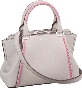 C de Cartier bag, mini model Moonstone taurillon leather with pink thread, palladium finish