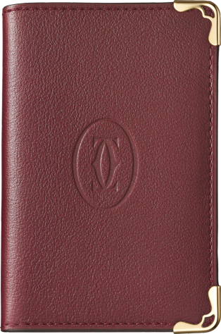 Must de Cartier Small Leather Goods, card holder Burgundy calfskin, golden finish