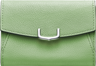 C de Cartier Small Leather Goods, card holder Chrysoprase-colored taurillon leather, palladium finish