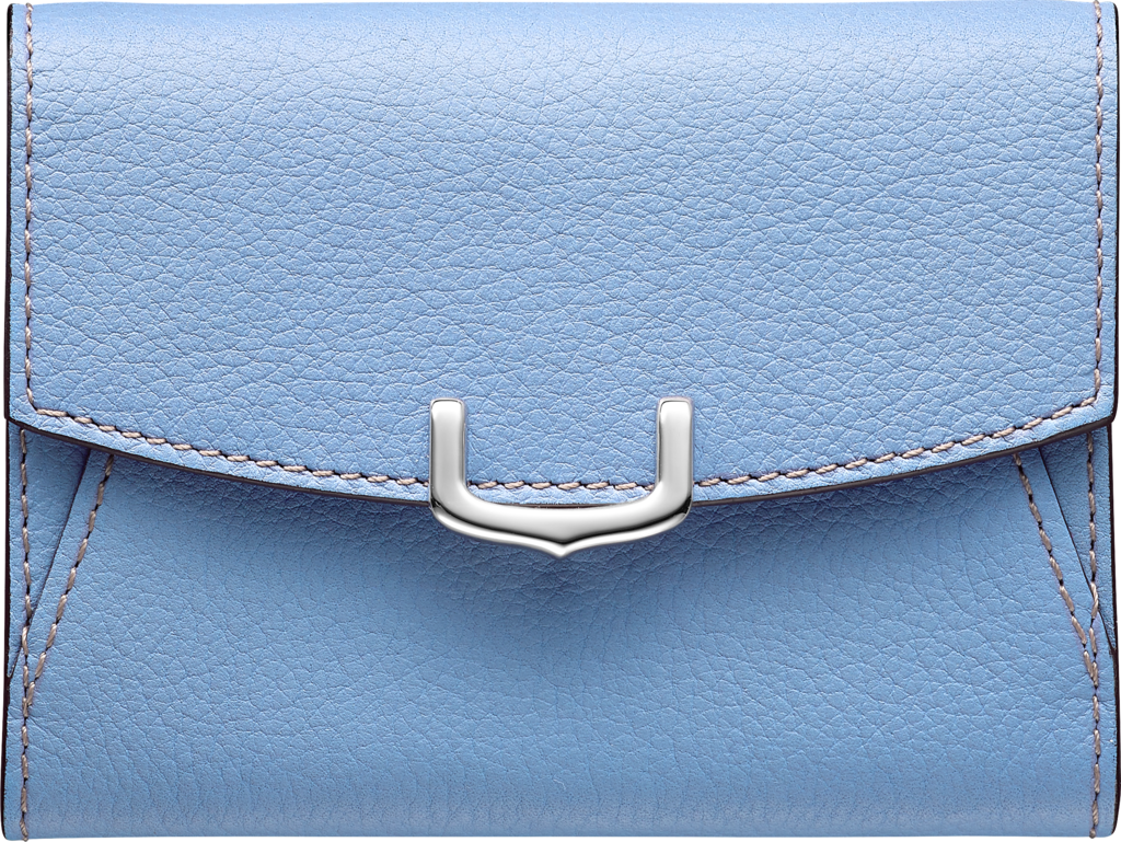 C de Cartier Small Leather Goods, card holderAquamarine taurillon leather, palladium finish