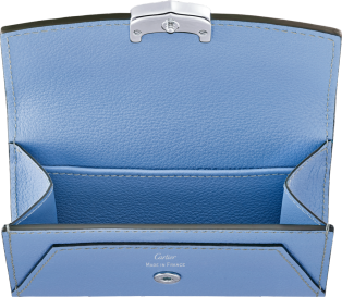 C de Cartier Small Leather Goods, card holder Aquamarine taurillon leather, palladium finish