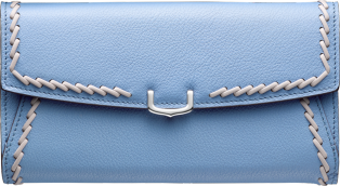 Small Leather Goods C de Cartier, international wallet Aquamarine taurillon leather with gray thread, palladium finish