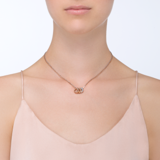Love necklace, 6 diamonds Pink gold, white gold, diamonds
