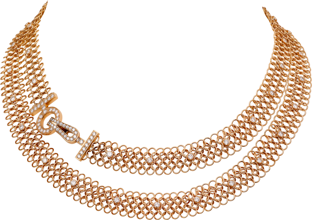 Agrafe necklacePink gold, diamonds