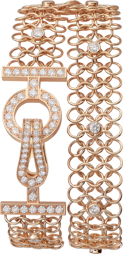 Agrafe braceletPink gold, diamonds
