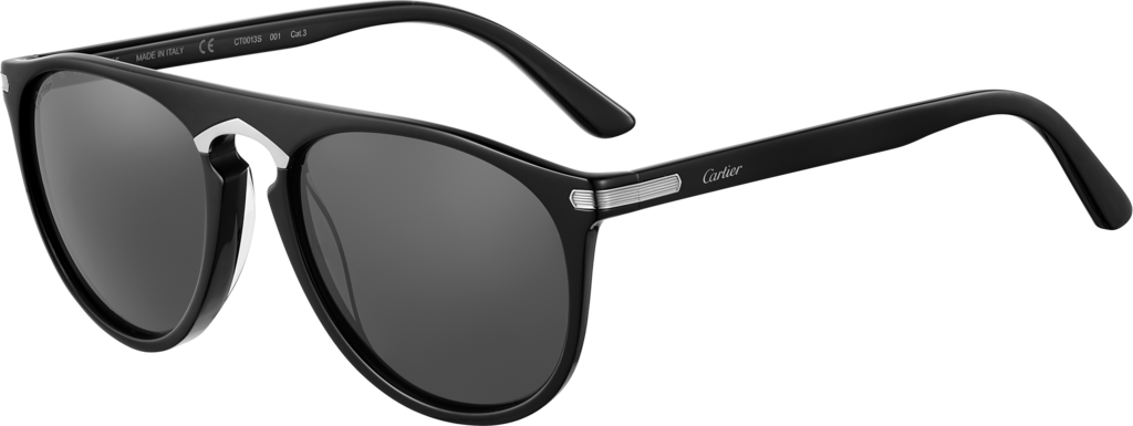 C de Cartier SunglassesBlack composite, ruthenium-finish details, gray lenses.