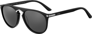 C de Cartier Sunglasses Black composite, ruthenium-finish details, gray lenses.