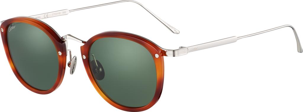 C de Cartier SunglassesCombined titanium and light tortoiseshell-effect composite, palladium finish, green polarized lenses.