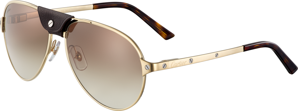 Santos de Cartier sunglassesBrushed champagne golden-finish metal, graded brown lenses.