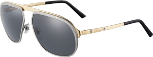 Santos de Cartier sunglasses Brushed ruthenium and champagne golden-finish metal, gray polarized lenses.