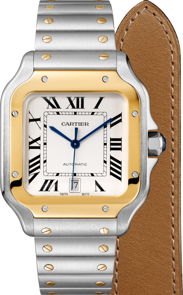 Santos de Cartier watchLarge model, automatic movement, yellow gold, steel, interchangeable metal and leather bracelets
