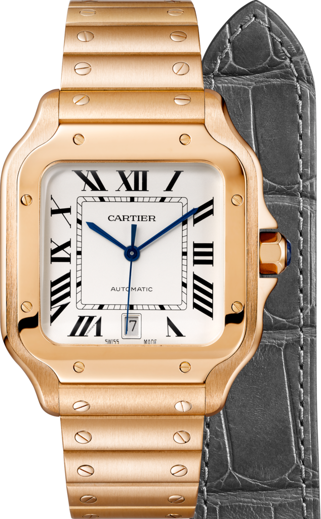 Santos de Cartier watchLarge model, automatic movement, pink gold, interchangeable metal and leather bracelets
