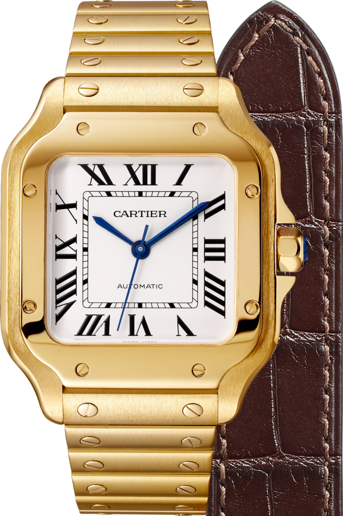 Santos de Cartier watchMedium model, automatic, yellow gold, two interchangeable straps