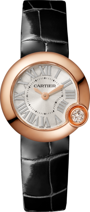 Ballon Blanc de Cartier watch 26 mm, pink gold, diamond, leather